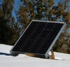 This application includes a solar panel, a power monitor, and a 12-volt storage battery.