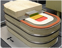 The grid storage battery uses a high-density electrode on the bottom (red), a molten salt electrolyte (yellow), 