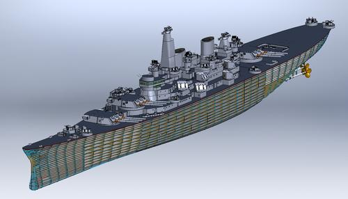 Using SolidWorks, McKinney researches and models every feature as accurately as possible; the ship is placed in the CAD in full scale and then reduced to the intended scale.