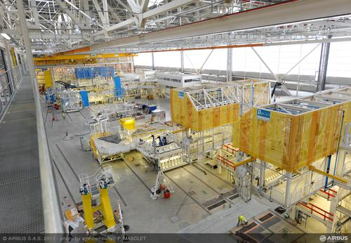 A new class of self-monitoring adhesives may help to predict failure in structural composites used in aircraft such as the Airbus A350 XWB, shown here in its final assembly line in Toulouse, France. Source: Airbus