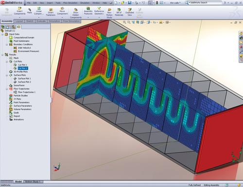 SolidWorks 2012 offers new simulation capabilities that let users manipulate sheet metal to view results for velocities, temperatures, and pressures as well as to probe the section for results at any location.
