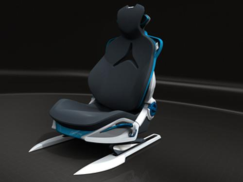 Faurecia's high-tech Performance Seat with a body-conforming 'compliant shell'  is 30 percent thinner than conventional seats and weighs 20 percent less.   (Source: Faurecia)