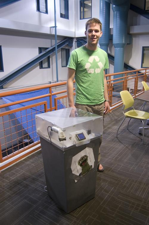 Peter Riedo and his mechatronics lab group from Colorado State created the Automatic Recycler that tracks trash. Gadget Freaks not pictured include Sean Kalahar, Tino Tadiello, Randy Vieira, and Eric Swanstrom.