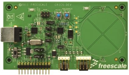 Freescale claims to have the world's first controller (center) that recognizes multitouch gestures on standard resistive screens and manages up to four capacitive-touch pads (right), shown here on a reference design board.