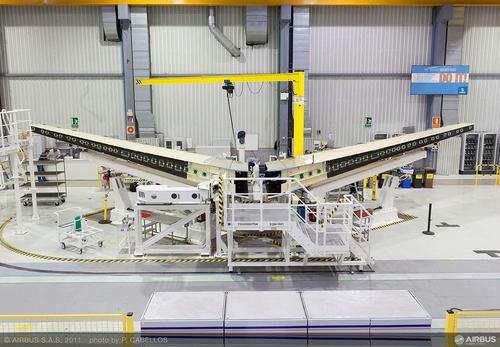 Inspection of composites used in aircraft such as the A350 XWB, shown here in Getafe, Spain, during 