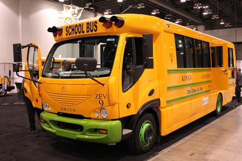 The duty cycle of a school bus could be well-suited to electrification. The Newton eTrans is expected to go into production in the second quarter of 2012.  (Source: Smith Electric Vehicles)