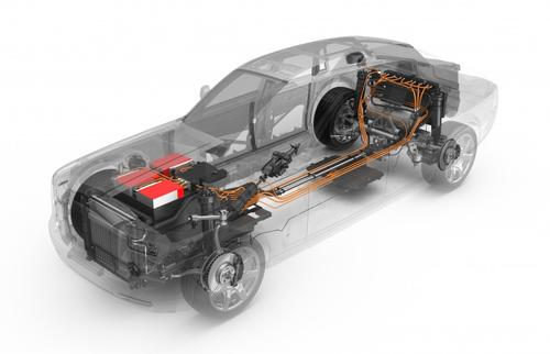 In Rolls-Royce's 102EX Phantom Experimental Electric, a gasoline-burning engine and gearbox were replaced by a lithium-ion battery pack, and two motors mounted on the rear sub-frame. Weighing in about 1,400lb, the vehicle's lithium-ion pack is more than twice the mass of the Nissan Leaf's 660lb battery.   (Source: Rolls-Royce)
