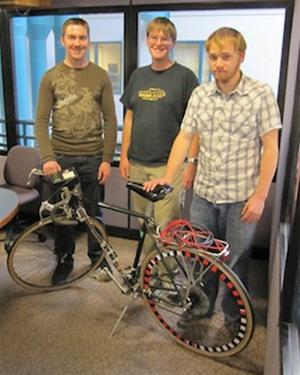 The Colorado State University engineering students who created the self-shifting smart bike (left to right): Ben Johnke, Bill Engelking, and Matthew Stout.