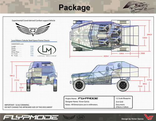 Local Motors is a car company built around the concept of social product development and co-creation. This is the winning design for the FLYPMODE, the experimental crowd-derived Combat Support Vehicle Local Motors worked on in conjunction with DARPA.   (Source: Local Motors)