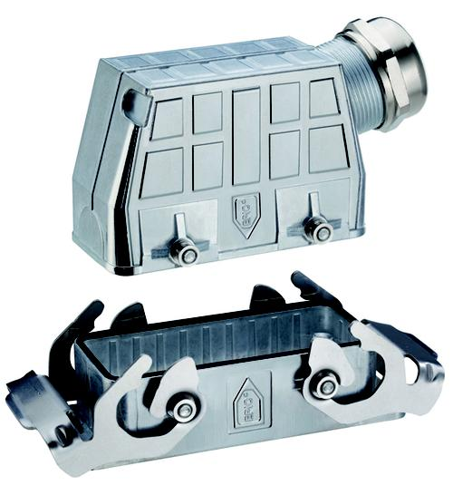The Lapp Group rolled out its new rectangular housings, which protect connectors in environments that are corrosive or electrically noisy. Known as Epic Ultra, the housings feature nickel-plated brass hoods and stainless steel bodies. A Lapp Group engineer said the housings are well suited for robotics, food and beverage applications, wind power, and amusement park attractions.  (Source: The Lapp Group)