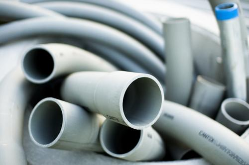 The EPA has finallzed its emissions standards for the production of PVC resins used in a variety of products, such as this gray Schedule 40 PVC plastic tubing used as a conduit for electric wires.