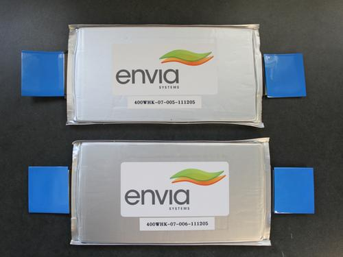 Envia Systems' lithium-ion battery reportedly offers three times as much energy as conventional lithium-ion, at half the cost.   (Source: Envia Systems)