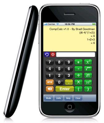 CompCalc is being promoted by its engineer developer as a hex calculator, 'tape-roll' adding machine, scientific calculator, engineering calculator, trigonometric calculator, and more. Long available on the BlackBerry, the tool is now offered on the iPhone.   (Source: Brad Goodman)