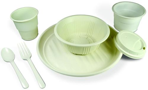 Although durable bioplastics can usually be recycled, composting is usually the most common option for food serviceware, such as these plate, bowl, lid and cup prototypes made of NatureWorks' Ingeo bioplastic based on BioAmber building blocks.   (Source: NatureWorks)