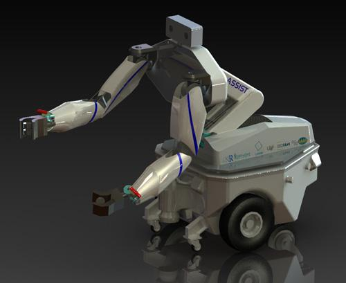A specialized example of humanoid consumer robots is the ASSIST, a two-armed mobile manipulator that fetches and manipulates objects for quadriplegics. (Source: Laboratoire d'Informatique de Robotique et de Microelectronique de Montpellier)