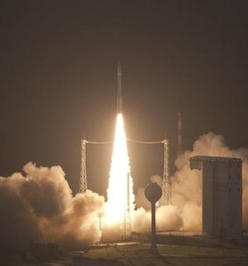 On Feb. 13, the first Vega satellite launcher, incorporating carbon-fiber composites, began its maiden flight from the Guiana Space Centre. (Source: S. Corvaja/European Space Agency)