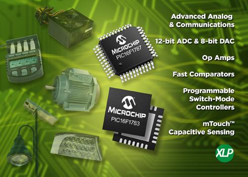 Microchip's eight-bit microcontrollers will incorporate 12-bit ADCs, eight-bit DACs, op-amps, and high-speed comparators. (Source: Microchip Technology Inc.)
