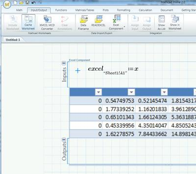 Prime 2.0 offers tight integration with Excel, including the ability to view a fragment of a spreadsheet as a table set up within a Mathcad worksheet.