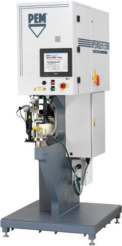 The 3000 PEMSERTER automated fastener press installs self-clinching PEM fasteners up to 30 percent faster than traditional installation systems and completely eliminates hydraulic fluids. (Source: PennEngineering)