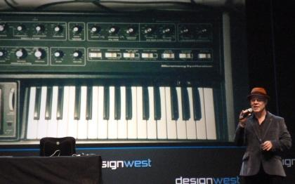 Thomas Dolby showed DESIGN West attendees pictures of his first keyboards.