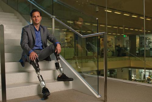 MIT professor Hugh Herr developed the robotic PowerFoot, which helps below-knee amputees get back to an active lifestyle. The foot enables them to climb stairs, traverse ramps, walk fast, and exert a level of force comparable to that of a biological ankle. (Design News photo)