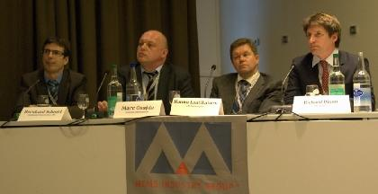 Automotive panelists at MEMS Executive Congress Europe held in Zurich, Switzerland. From left: Bernhard Schmid of Continental, Marc Osajda of Freescale Semiconductor, Hannu Laatikainen of VTI Technologies, and Richard Dixon of IHS-iSuppli.