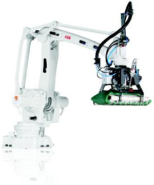A robot package that puts together hardware, including the 4-axis IRB 460 robot shown here, and software for automating high-speed, end-of-line palletizing is easier to program and integrate into existing lines.   (Source: ABB)