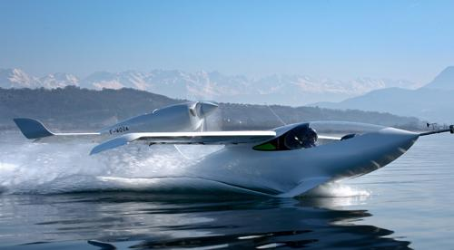 LISA Airplanes conducts flight tests of its high-speed, long-distance AKOYA amphibious skiplane, whose structures are made primarily of composites. The plane is shown taking off at low speed from France's Bourget Lake. (Source: LISA Airplanes)
