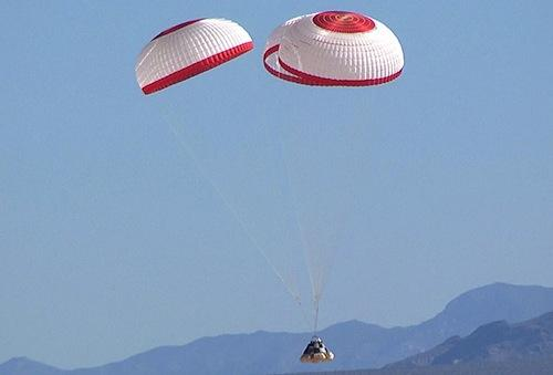 Boeing's Crew Space Transportation (CST)-100 spacecraft successfully landed in a parachute drop test.   (Source: Boeing)