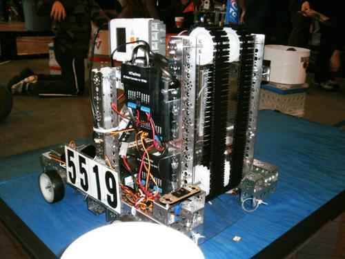 The Gerber-sponsored student team's robot in the FIRST Robotics Competition has a tank tread conveyor system that is designed to draw game pieces in the form of racket balls into the system and up into a basket.    (Source: Gerber Technology)