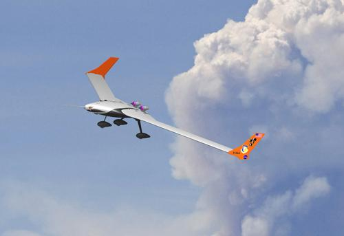 The Air Force and NASA will use the X-56A, shown here in a simulated flight, to test future innovations in lightweight aircraft design.   (Source: Air Force Research Laboratory)