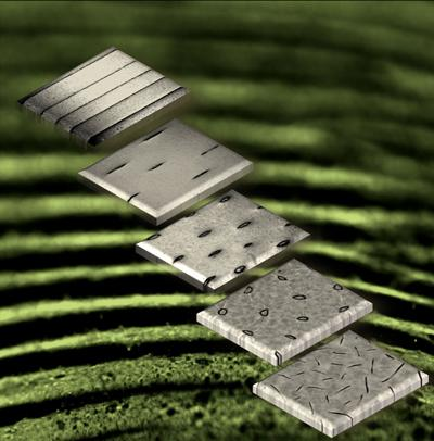 The dynamic electrostatic lithography process changes a plastic's surface texture to patterns with various shapes and sizes, or smooth, in a few milliseconds.  (Source: Duke University)