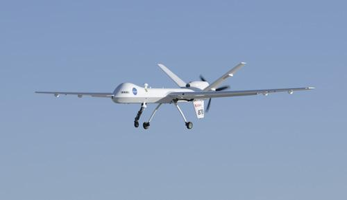NASA's Ikhana glides in for landing at Edwards Air Force Base after the first test flight of the new ADS-B aircraft tracking technology on an unmanned aircraft system.   (Source: NASA)