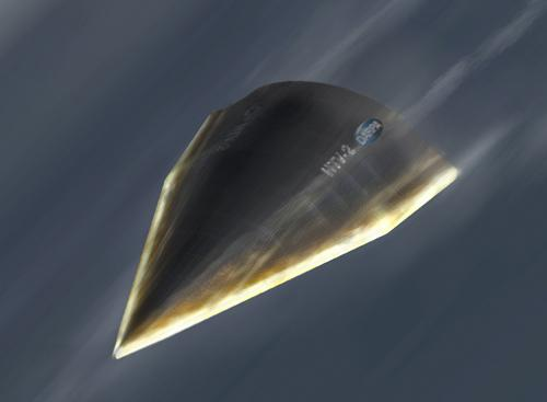 An artist's concept of the flight of DARPA's HTV-2, which crashed into the Pacific last August after greater than expected shockwaves peeled off parts of its thermal shell.   (Source: DARPA)