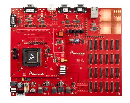 Freescale's Qorivva MPC5746M (center) doubles computing performance for automotive powertrains without drawing more power.   (Source: Freescale Semiconductor)