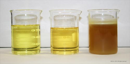 Pyrolysis-based energy recovery processes, such as JBI's Plastics2Oil, can produce fuels that do not need further refining, such as the Naphtha, Fuel No. 2 (furnace oil), and Fuel No. 6 (heavy fuel) shown here (left to right).   (Source: JBI)