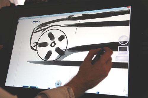 Dassault's Natural Sketch, which blends 2D paint gestures with realistic 3D modeling capabilities, is planned for release on the iPad later this year.   (Source: Dassault Systemes)