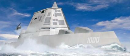 An artist's rendering of the next-generation Navy warship, the DDG 1002 Zumwalk Class Warship,  which is being designed and built by General Dynamics' Bath Iron Works. The ship is expected to  be on line in fiscal 2018.