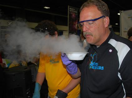 The folks at the Michigan Tech exhibit were the only ones 'blowing smoke' during the tech fest. Here, the unusual properties of liquid hydrogen were on display in the form of quick-frozen crackers.