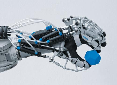 A robotic exoskeleton uses sensors for precise orientation of all finger joints and actuators for increased power in gripping.   (Source: Festo)
