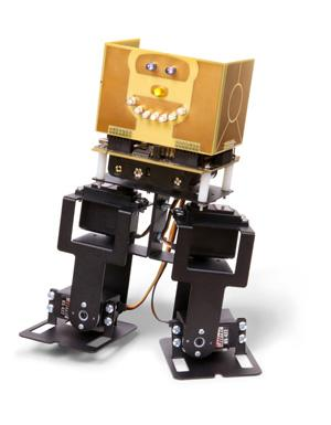 Freescale Semiconductor's 2-legged robot (FSLBOT) and controller board lets engineers, students, and even hobbyists experiment with the robot's four servos and many sensors.   (Source: Freescale)