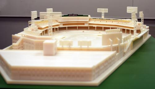 Printed on an Objet Connex500 printer, Boston's Fenway Park is about 1/200th scale (3 ft x 5 ft), includes 40 separate printed sections, 22 builds and, when put together, weighs about 105 lb. Check out a video  here.   (Source: Objet)