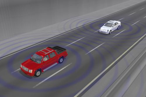 Using GPS and DSRC, vehicle-to-vehicle (V2V) communication could take place between cars as far as a quarter-mile apart.   (Source: General Motors)