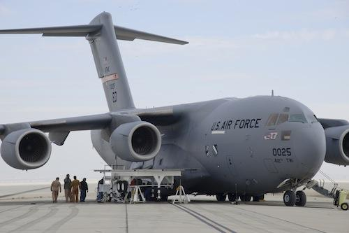 Technicians prepare a US Air Force C-17 for engine health monitoring tests as part of the Vehicle Integrated Propulsion Research program -- a collaboration by NASA, the Air Force, and Pratt & Whitney to create a sensor system for early diagnosis of engine problems. (Source: NASA) 