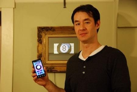 Al Linke's Android controlled interactive mirror runs a number of Android apps, including Magic 8 Ball.
