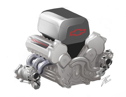 Chevy's 2.2-liter Indy engine employs twin turbochargers, enabling it to produce as much as 700 HP.   (Source: General Motors)
