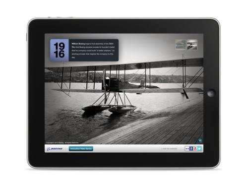 The first Boeing airplane, the B&W, as depicted in the company's Milestones in Innovation app for iPad. The app was released May 7.   (Source: Boeing)