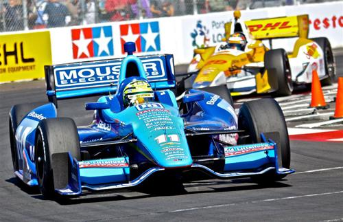 Indy cars can use aerodynamic downforce to ride lower and get a better grip on the road. (Source: Littelfuse)