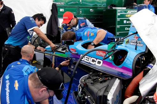 KV Racing Technology technicians work on driver Tony Kanaan's car in preparation for the Indy 500 (May 27). Electronics are positioned in the car to pose minimal hazard to a driver during a collision.   (Source: Littelfuse)