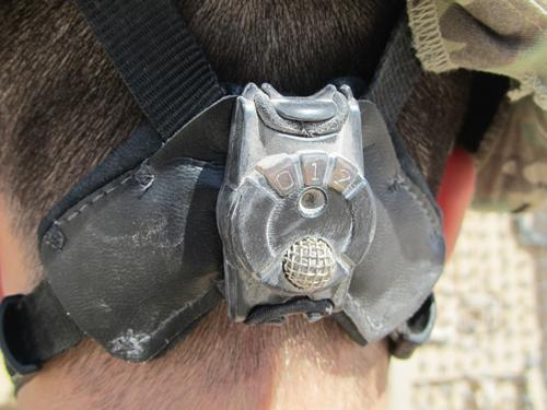 DARPA's Blast Gauge can be worn on the back of a soldier's helmet to determine the physical effects of a bomb or shrapnel blast during combat. The device includes a microprocessor and sensors that record and store blast event data to be examined later by medical personnel and researchers. (Source: DARPA)